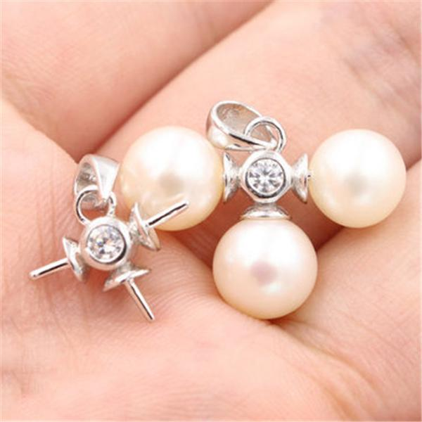 100% Real S925 Sterling Silver Hold 3 Pearl Wome's Pearl Pendant Mounting DIY Necklace Jewelry Settings Findings Accessories Wholesale DZ003