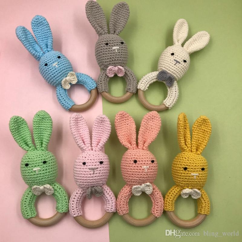 Easter Baby Teethers Infant Knitting Teether Rabbit Ear Wooden Soothers Cute Bunny Teeth Training Toys Newborn Care Tools 14 Color YW2124