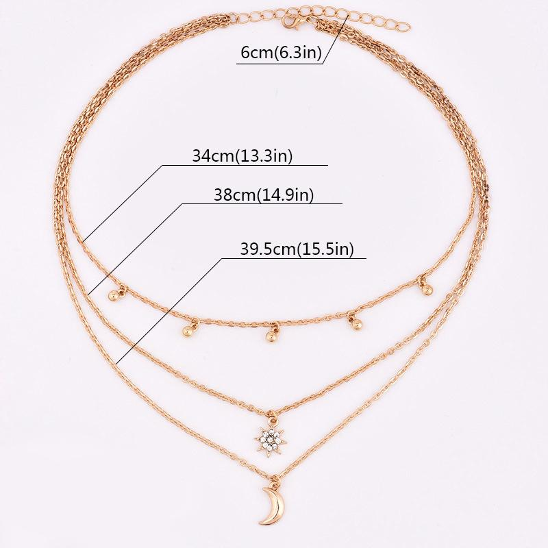 Нежные бусины с кисточками колье ожерелья для женщин золотой цвет луна солнце звезда 3 слоистых ожерелье цепь ювелирных изделий Colier Femme 2018