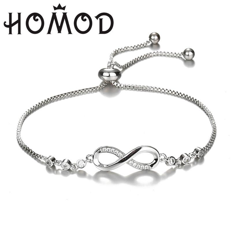 Acheter 2019 Nouveau Cristal De Luxe Bracelet Argent Couleur Réglable  Infinity Charme Bracelets Pour Femmes De Mode Bijoux Dropshiping De $33.09  Du