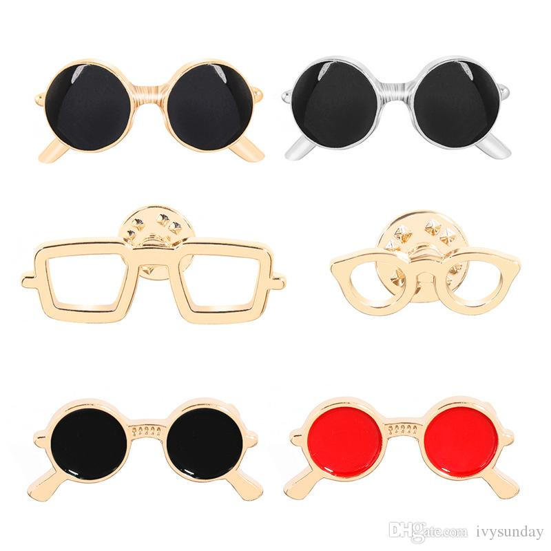 Korean Style Fashion Creative Glasses Frame Pin Sunglasses Brooch Pins Metal Badge Jewelry Jacket Denim Cloth Summer Hat Handbag Accessory