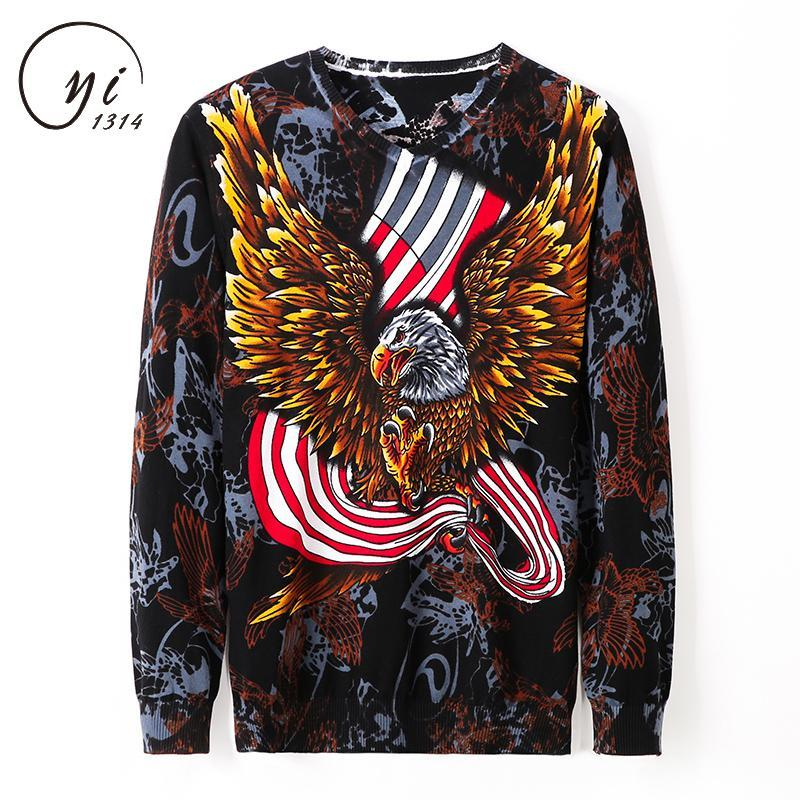 Eagle Print Male Kniteed Sweater Party Prom Male Outfit Pullover Masculino Mens Knitwear Clothes Sueter Hombre 3xl