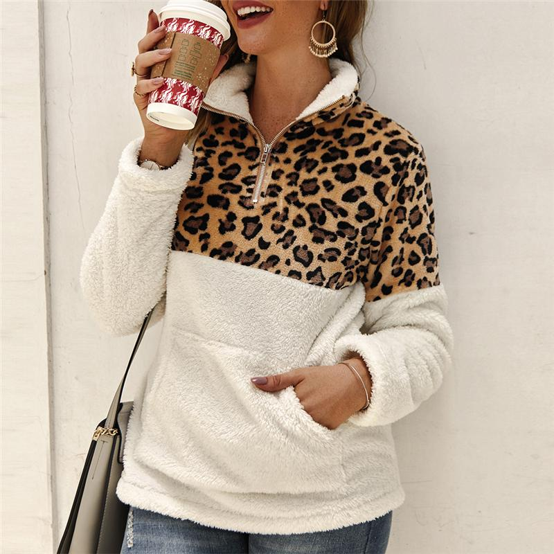 Mode Leopard Patchwork Fluffy dicke Pullover Warm Zipper Pullover Frauen Wintermantel Sherpa Tops Winter-Fleece Pullover