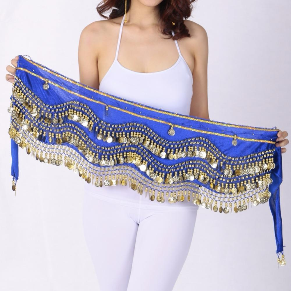 Women's Velvet Belly Dance Wave Shape Hip Scarf With Silver Gold Coins India Dance 3 Rows Sequin Beading Belt Skirt