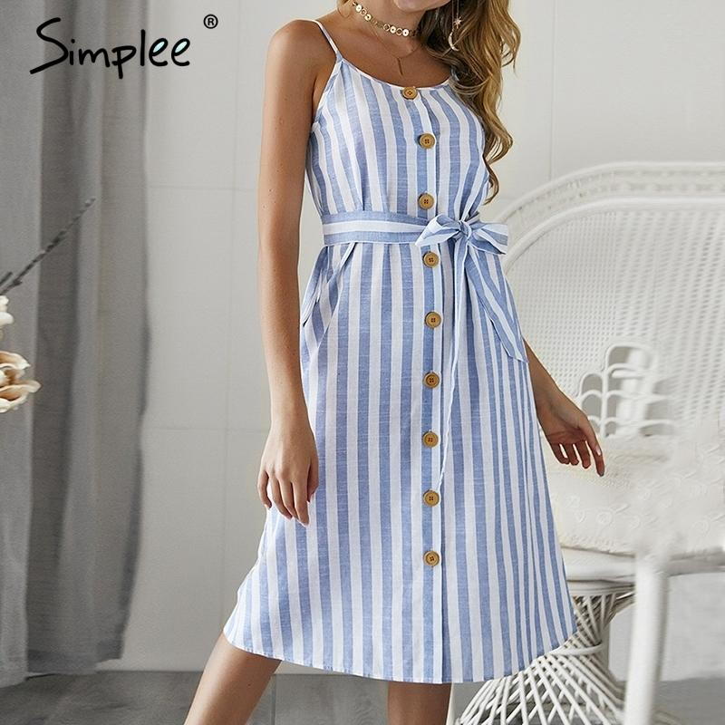 Elegant Stripe Print Female Sex Summer Dressy Sexy Spaghetti Strap Dress Female Sex Maxi Long Dress SH19062702