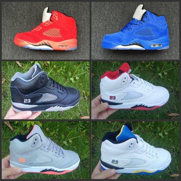 quality design 2dbae b179a Compre 2019 Zapatos Para Niños 5 VII De Gamuza Azul ROJO Zapatos De  Baloncesto Para Niños, Niñas, Niños, Niñas, Deportes, Zapatillas De  Deporte, Talla ...