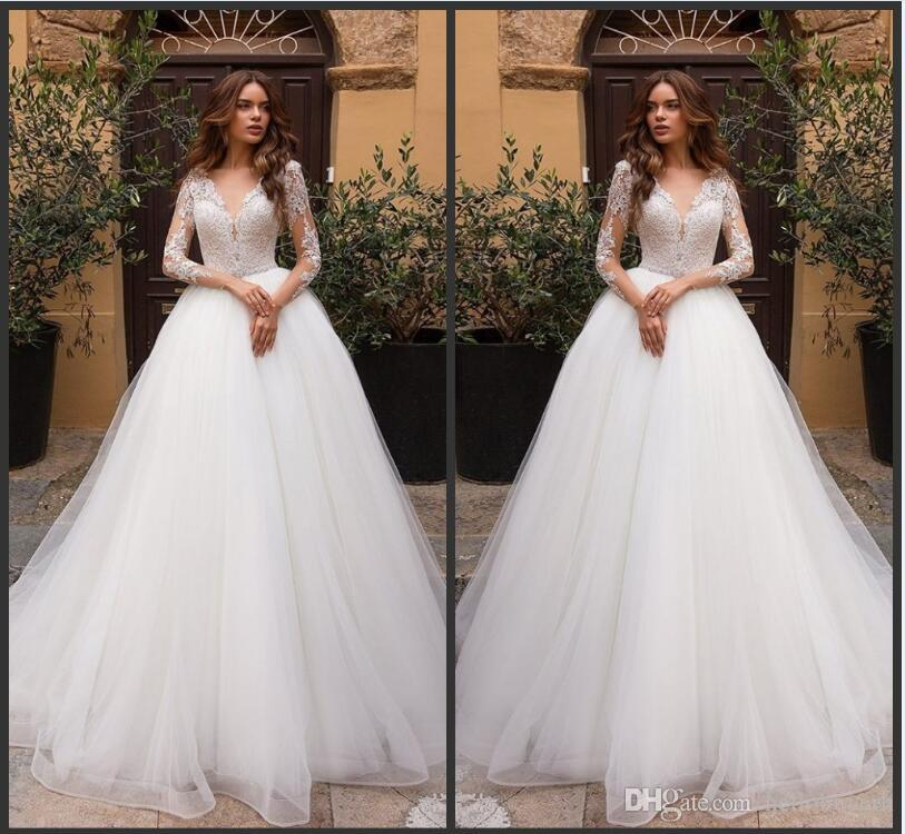 f2ad5149863b Discount 2019 New White Organza Long Sleeve Muslim Beach African Wedding  Dresses Top Lace Plus Size Wedding Gowns Sweetheart Drop Waist Wedding Gowns  For ...