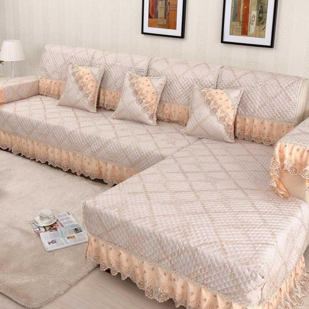 High-grade lace sofa cover Linen couch cover Combination Kit slipcover sofa  Thicken On-slip Cushion Backrest Pillowcase