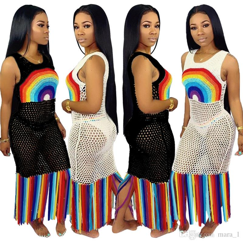 Women Sheer Tassel Beach Dresses Rainbow Print Sexy Long Swimsuit Dresses Plus Size Summer Clothes S-3XL NEW Fashion 574