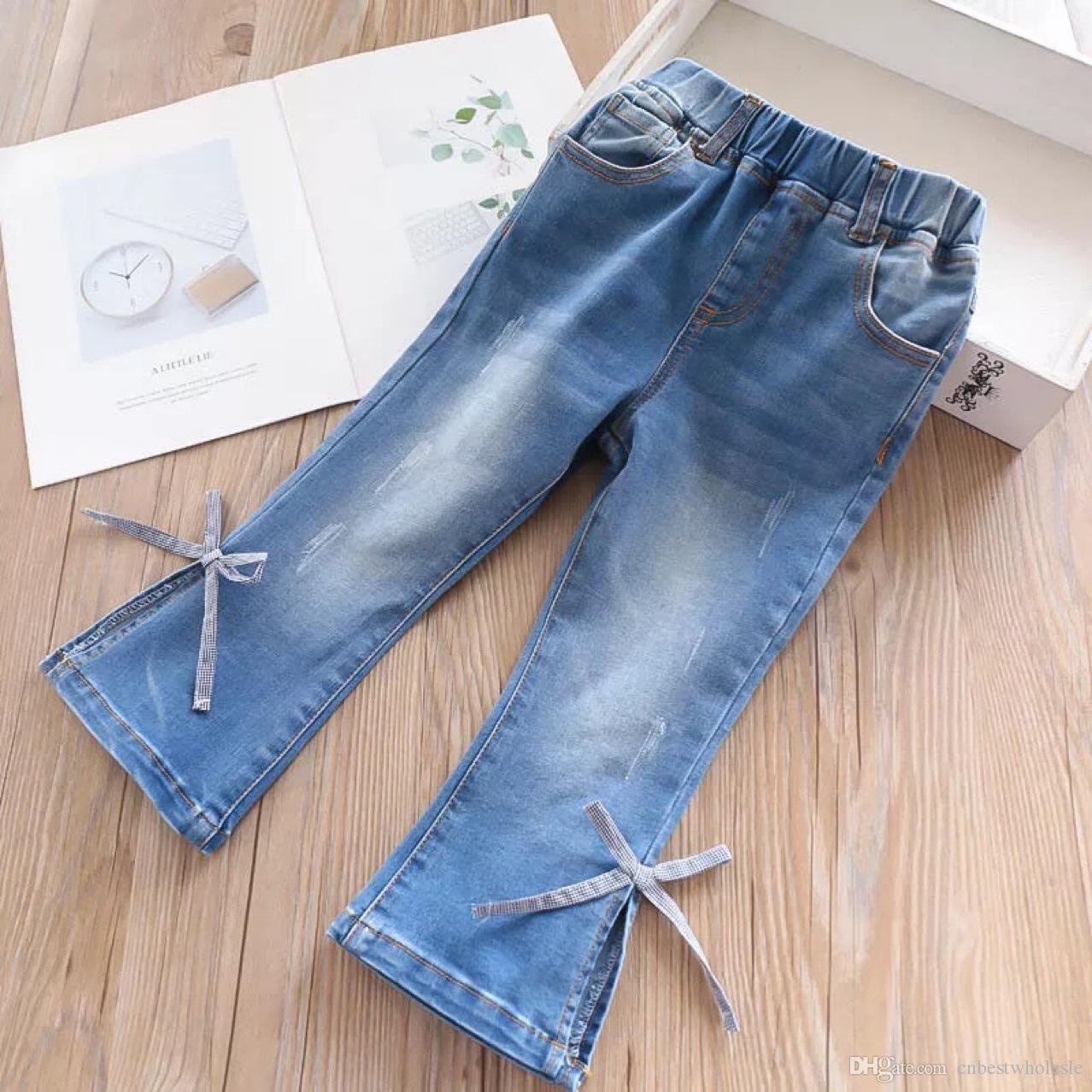 6e1b45ae8247 2019 Spring Girl Denim Pants Kids Clothing Fashion Casual Bowknot ...