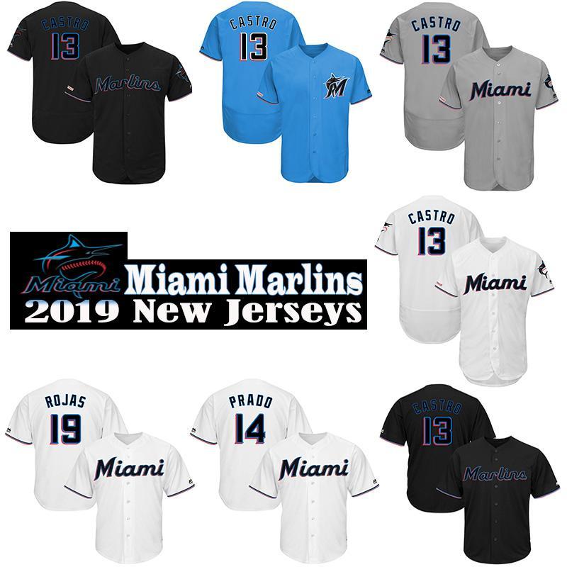 check out 402c3 961cf Custom Miami Mens 2019 New Jersey Marlins Starlin Castro & Martin Prado &  Brian Anderson High quality knit Baseball Jerseys