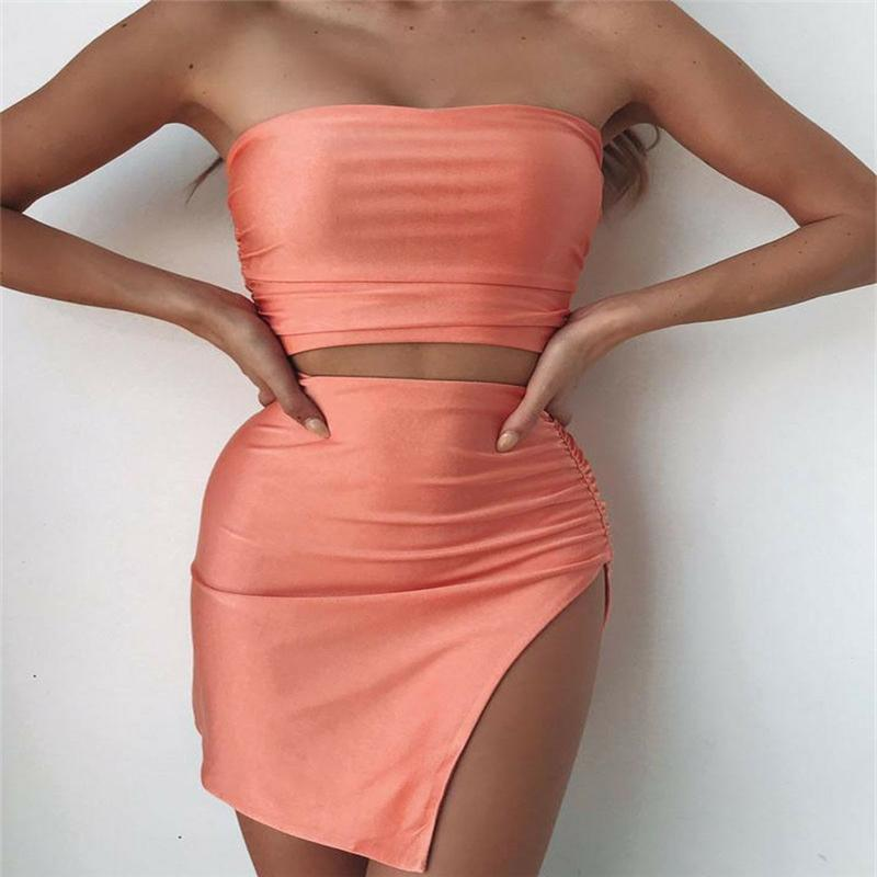 8b948922e0 2019 Womens Outfits Skirts Set Bodycon Sleeveless Crop Top Mini Dress  Female Sexy Split Slim Fit Skirt Sets Dress Party Clubwear From Jilihua, ...