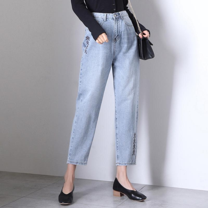 f5dad3d394c Embroidered Jeans Female 2019 Spring New Loose Thin High Waist Large ...