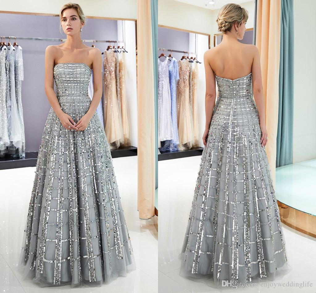 409ae5298e3 Gray Strapless Sequins Prom Dresses 2019 New Arrival Sparkly Sequined  Zipper Back A Line Tulle Formal Party Evening Gowns CPS1162 Special  Occasion Evening ...