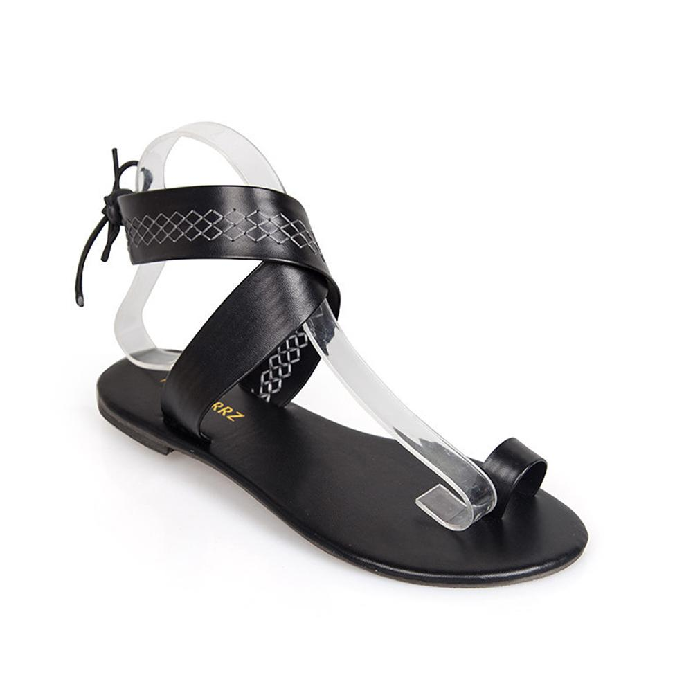 35259c2c219320 Peep Toe Flip Flops Ethnic Style Faux Leather Gladiator Sandals ...