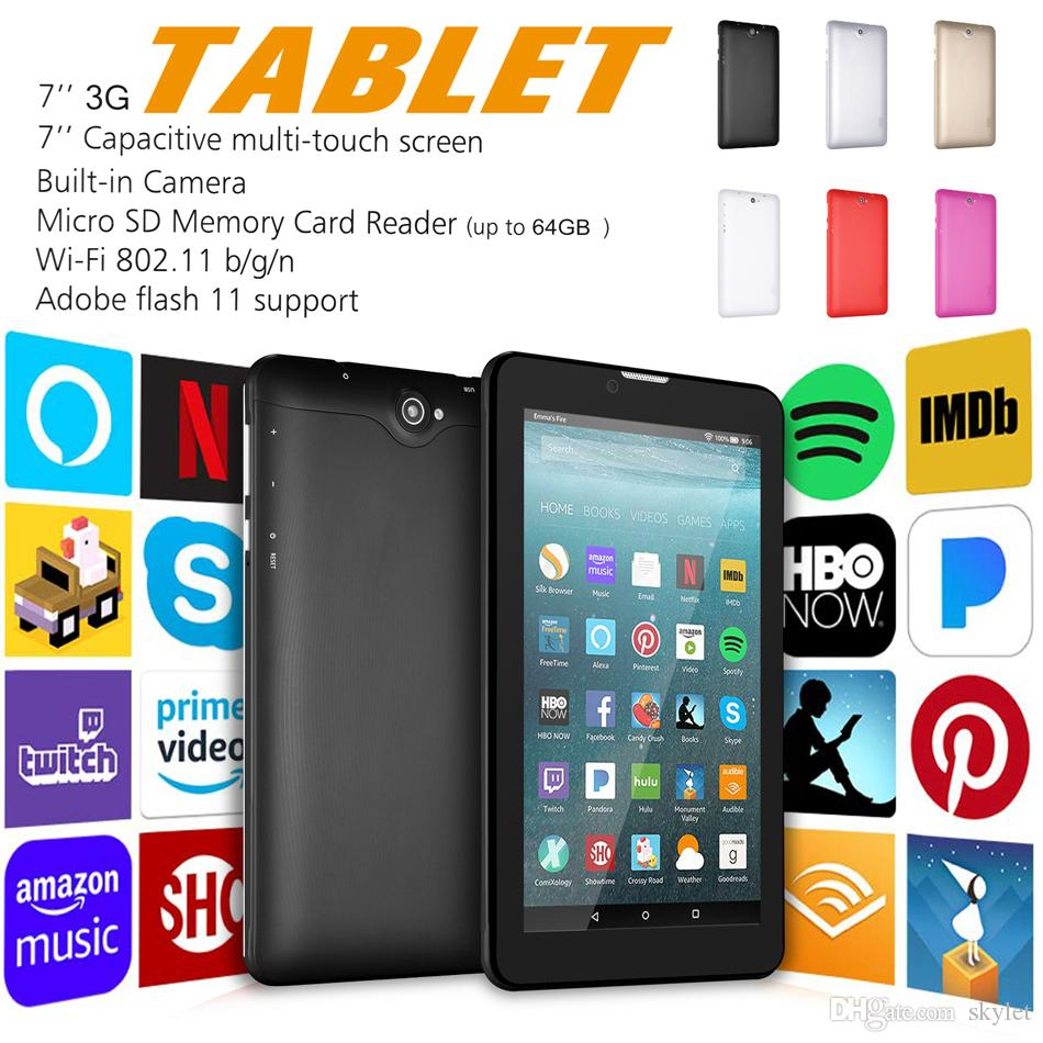 "7"" 8G PC Tablet Android Quad Core WIFI 3G Network Smart Tablet GSM WCDMA with Dual SIM Card Slot Camera Phablet Tablet with Retail box"
