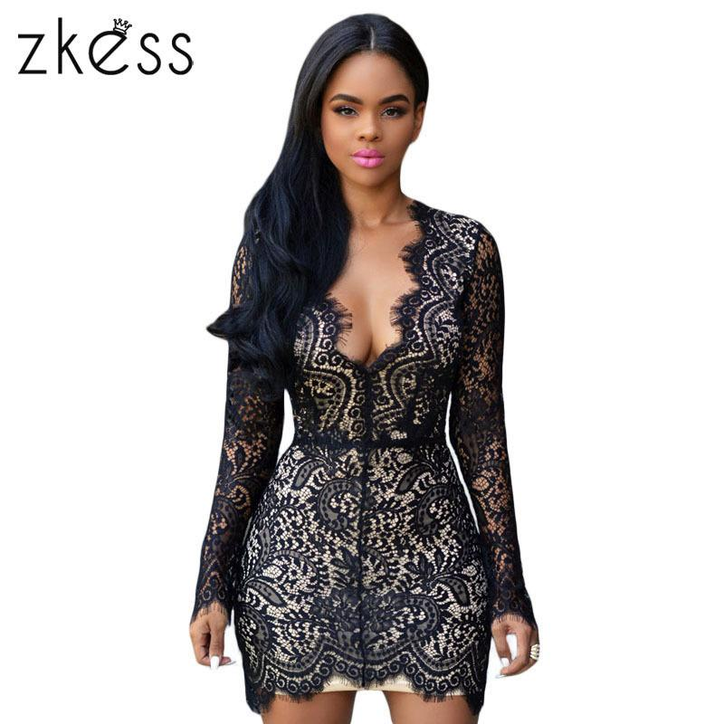 14447a25d7a5 2019 Zkess Long Sleeve Black Lace Dress Women Bodycon Sexy Slim Open Back  Nude Lace Dresses V Neck Mini Elegant Party Dresses Lc22535 Y19012201 From  ...