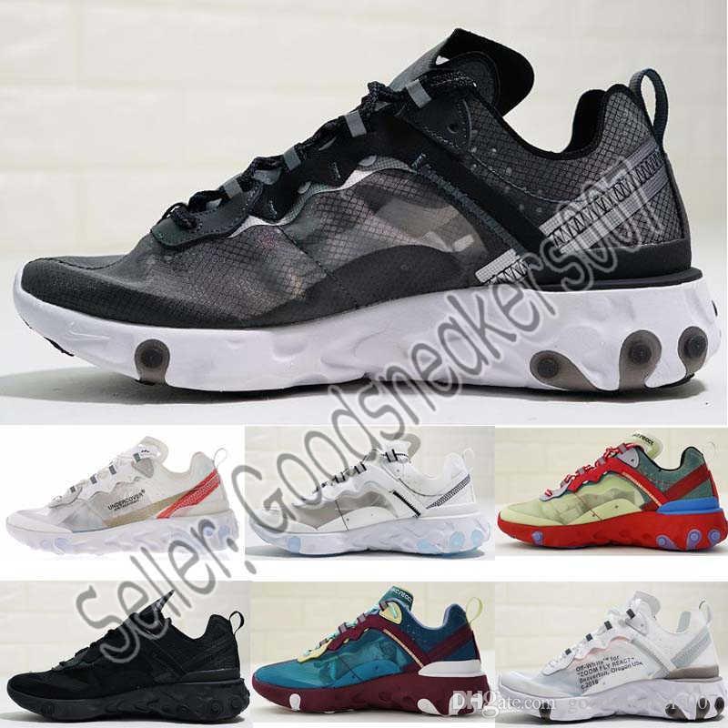 size 40 129f5 4f4fe Compre Designer Shoes Nike Men Women React Element 87 Para Hombre Mujer Blanco  Negro NEPTUNE VERDE Azul Para Hombre Zapatillas De Deporte De Diseñador ...