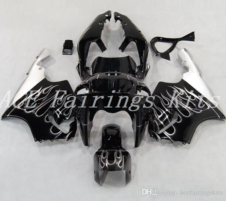 High quality New ABS motorcycle fairings fit for kawasaki Ninja ZX7R 1996-2003 ZX7R 96 97 98 99 00 01 02 03 fairing kits black white flame