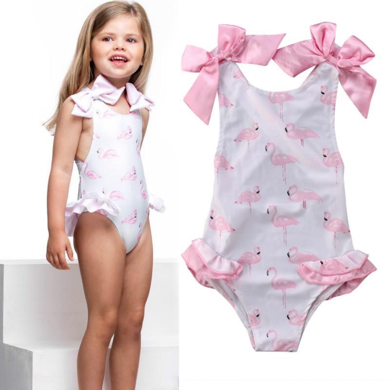 7175d39a45 2019 Kids Baby Girl Swimwear Beachwear 2019 Summer Sleeveless Bow Cartoon  One Piece Bikini Baby Girl Swimsuit Bathing Suit Clothing From Zuomeng3821,  ...