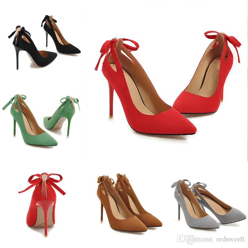 58598a306796 New Sexy Stiletto Heel Suede Back Cut-out Bowtie Pointed Toe Women ...