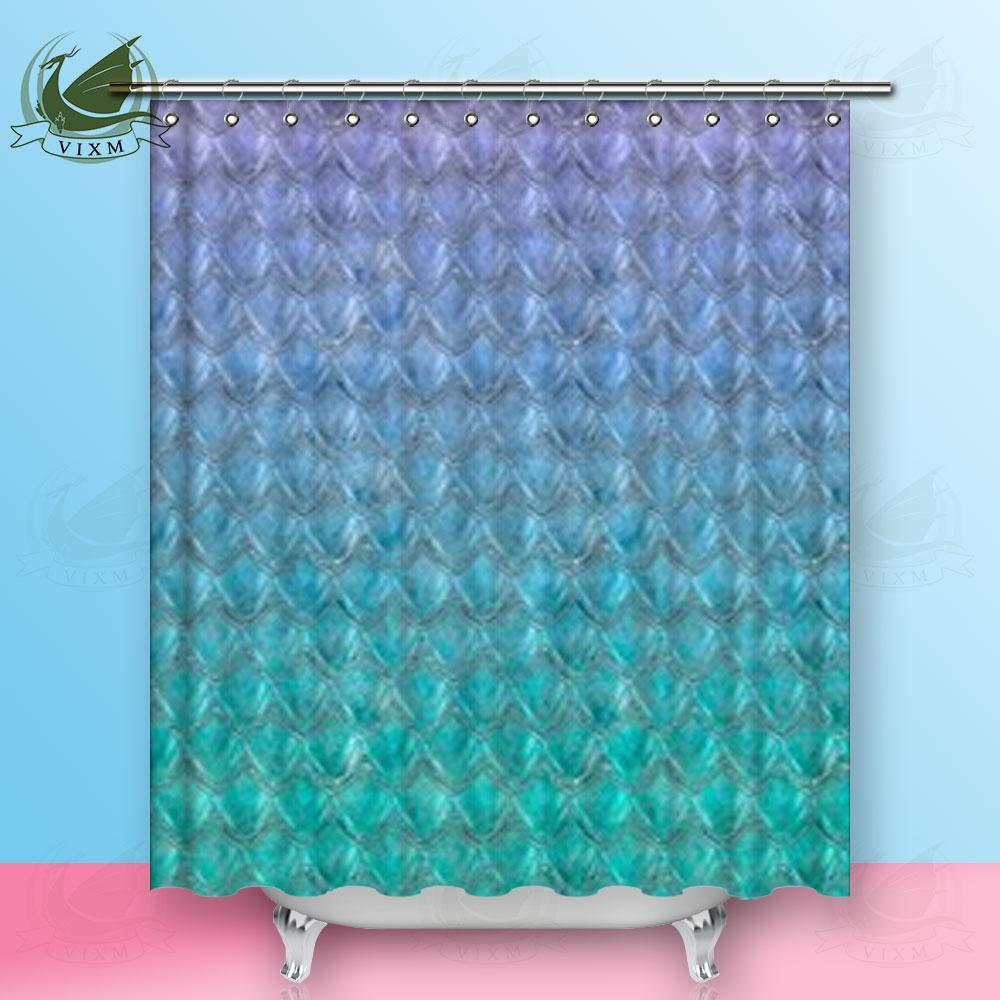 2018 Vixm Purple Turquoise Gradient Fish Scales Bright Summer Shower Curtains Polyester Fabric For Home Decor From Bestory 1665