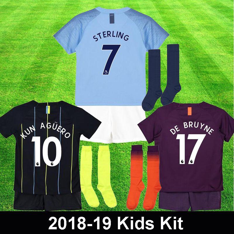 c7f0900e282 Kids Maillot De Foot 2018 DE BRUYNE KUN AGUERO STERLING Children ...
