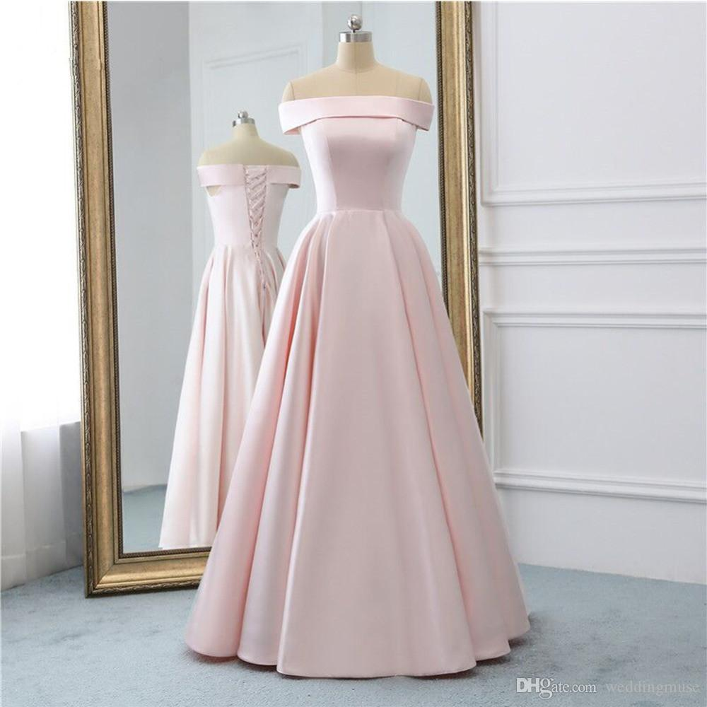 Real Baby Pink Long Prom Dresses Off Shoulder Vintage Prom Gowns ...