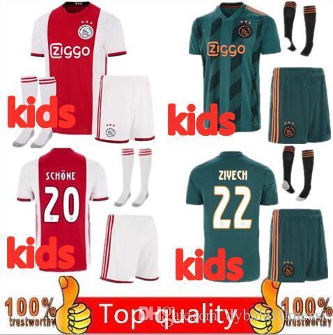 6d9c98a23 2019 2019 2020 Ajax FC Soccer Jerseys Away Kids Kits 19 20 Home Customized #7  NERES # 10 TADIC #4 DE LIGT #22 ZIYECH Football Shirt From Dybala10messi,  ...