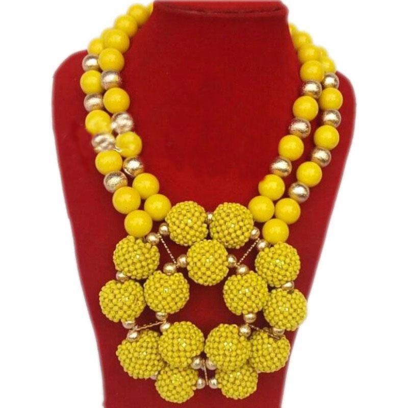 921cdac30e6a Compre Conjunto De Joyas De Dubai Collar De Perlas De Nigeria Amarillo Joyas  Conjunto De Bolas Conjunto De Joyas De Navidad Envío Gratis Granos De Boda  ...