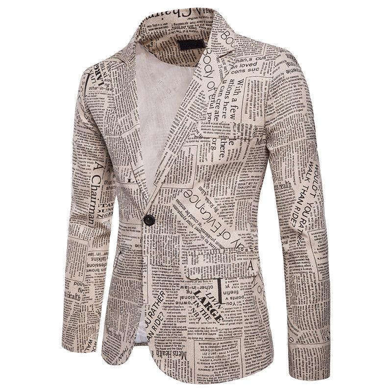 Acquista Uomo Elegante Giacca Adatta Vintage Giornale Stampato Blazer Uomo  One Button Casual Slim Fit Suit Blazer Cappotti Top Maschili Outwear A   34.39 Dal ... e3b003ea801