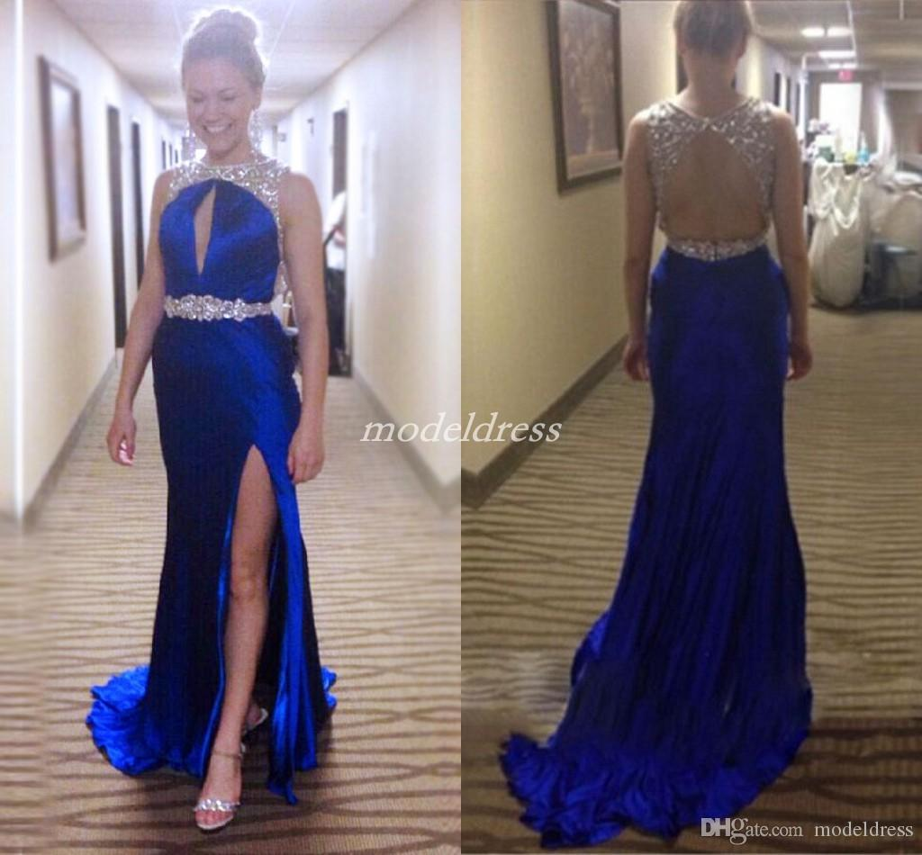 2ffd9798b40 Royal Blue Crystal Mermaid Evening Dresses Hollow Back Side Split Beads  Sweep Train Women Formal Prom Party Gowns Special Occasion Dress Debs  Dresses Long ...