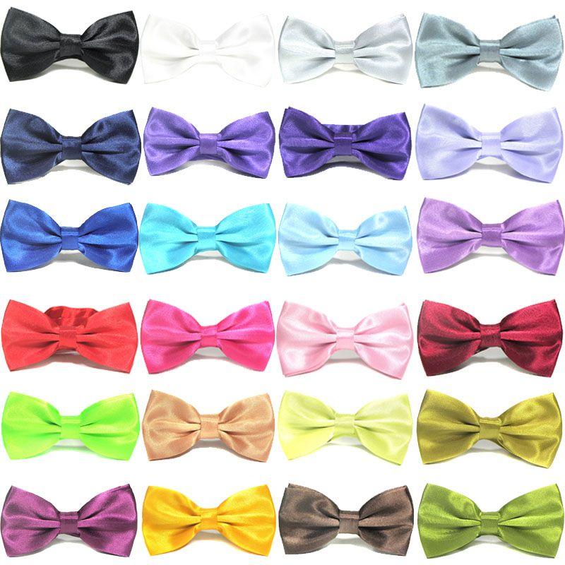 e00b77071585 New Solid Color Plaid Bow Groom Men Ties Designers Fashion Solid ...