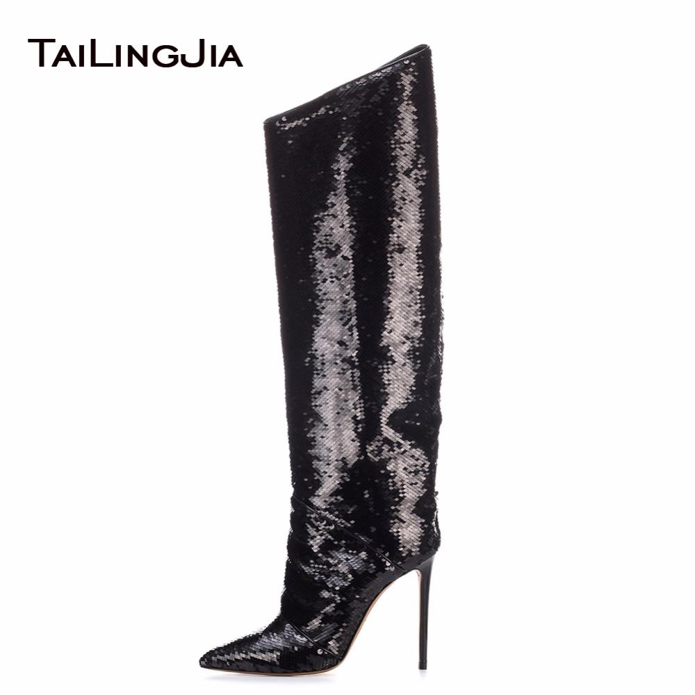 Fashion Women Knee Boots With Sequins Shiny Pointed Toe High Heel Plus Size  Ladies Catwalk Inclined Mouth Boots Brown Ankle Boots Fly Boots From  Serendip ed1dddb364ec