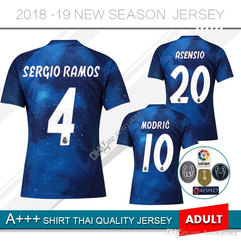 Compre Novo 2019 Real Madrid Edição Limitada Camisa De Futebol 18 19 Camisa  De Futebol Real Madrid 2019 KROOS ISCO ASENSIO BALE Uniforme De Futebol De  ... d0a52959b6324