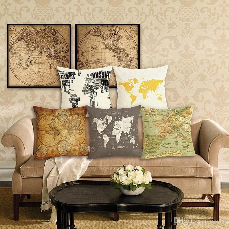 45cm World Maps Cotton Linen Fabric Throw Pillow 18inch Fashion Hotal Office Bedroom Decorate Sofa Chair Cushion