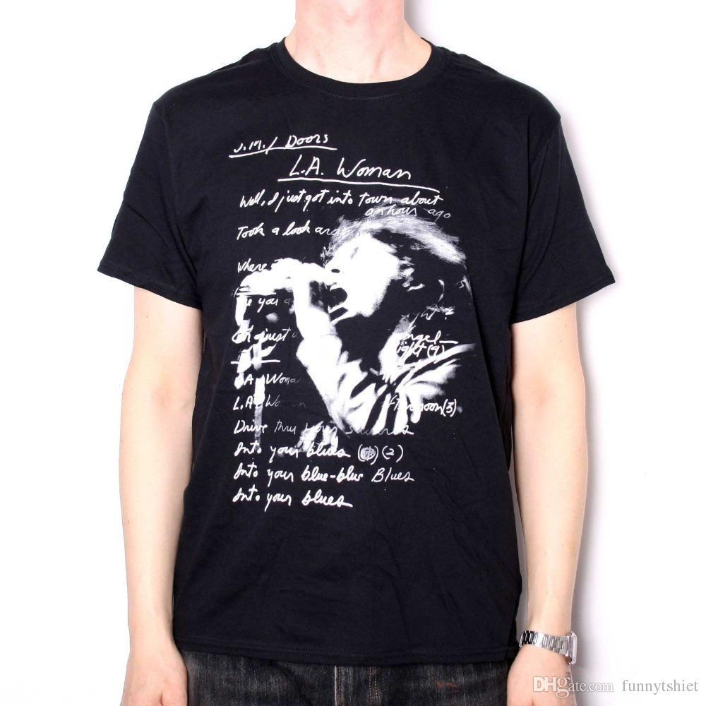 Men The Doors T Shirt LA Woman Lyrics Design 100% Official Jim Morrison  Classic High Quality Casual Clothing