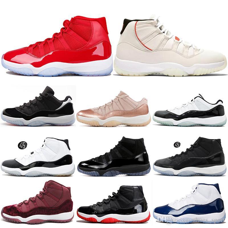 detailed look d55e2 6b779 Großhandel Air Jordan 11 Retro AJ11 Nike Shoes Fahsion Platinum Tint  Concord 45 11 11s Herren Basketballschuhe Mütze Und Kleid Abschlussfeier  Legende Blau ...
