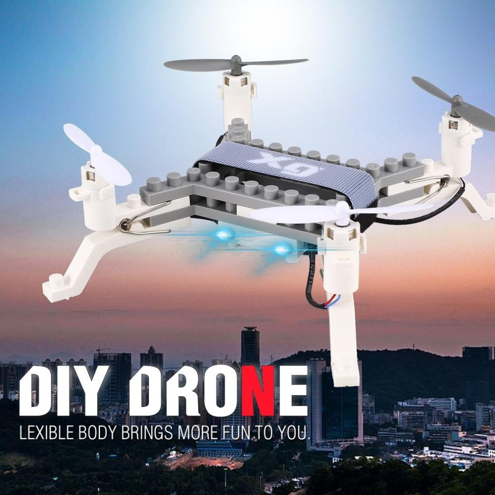 0.3MP Camera Wifi FPV DIY Building Block Drone Height Hold One Key Return Clip Quadcopter Toy RC Drone with Camera Gift