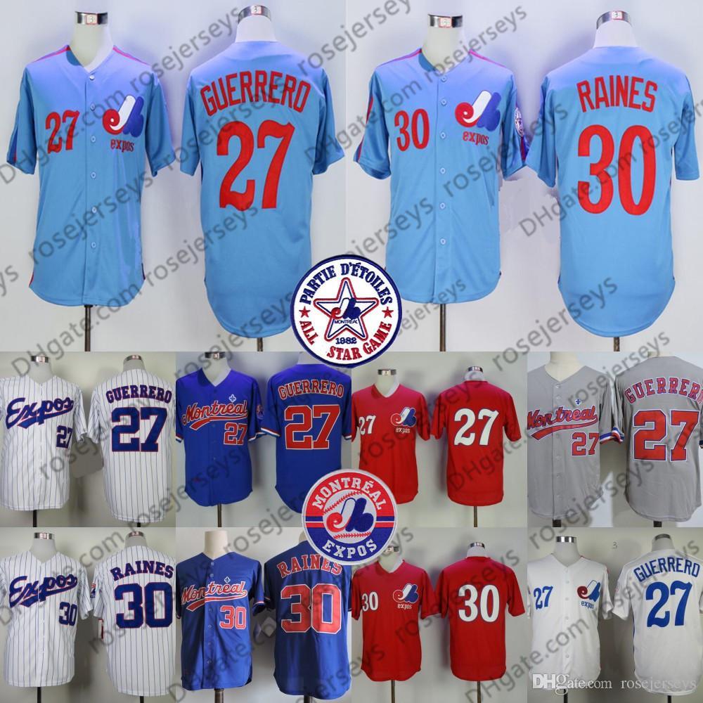 huge selection of 2c487 8d348 Custom Montreal Expos Vintage Jersey #27 Guerrero 30 Raines 33 Larry Walker  34 Bryce Harper 37 Bill Lee Steve Rodgers Red Blue White