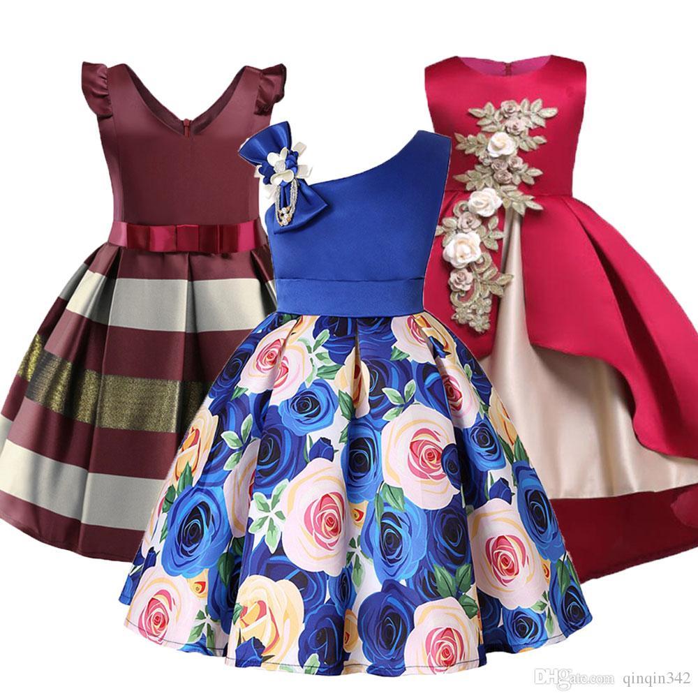 4efa32bdf 2019 Baby Girls Flower Striped Dress For Girls Formal Wedding Party Dresses  Kids Princess Christmas Dress Children Girls Clothing From Qinqin342, ...