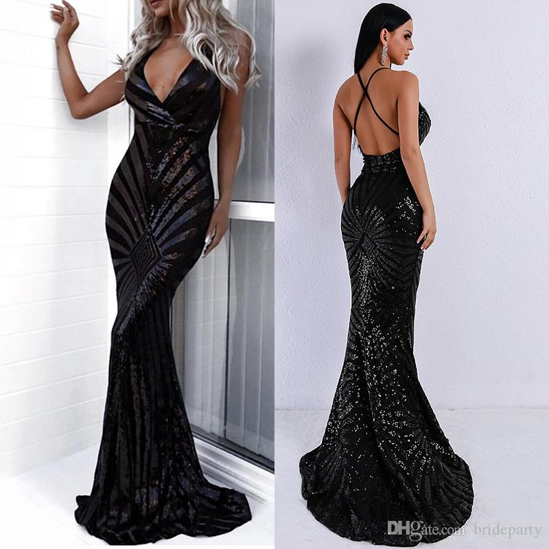 Sequined Mermaid Prom Dresses 2019 Spaghetti Straps Sexy Cross Backless Sweep Train Formal Evening Dresses Women Party Gowns