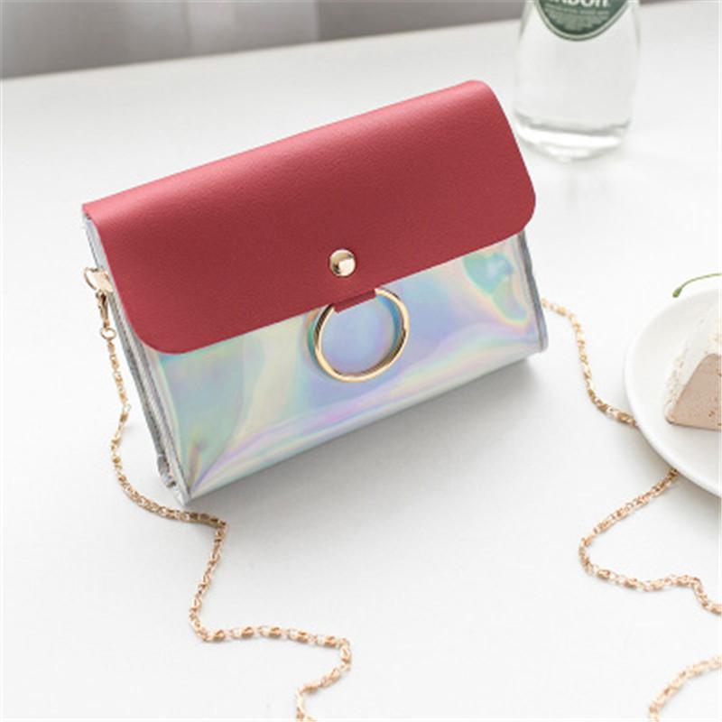 2019 Korean version of lady's laser sequins oblique sway mobile phone bag  horizontal metal ring handbag