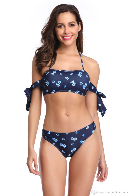 2019 Sexy DIY Bandeau Floral Print Swimsuit Women Micro Bikins Padded Push  Up Swimwear 2019 Summer Two Pieces Bikini Set Female From Communicationme a0f446bcdad