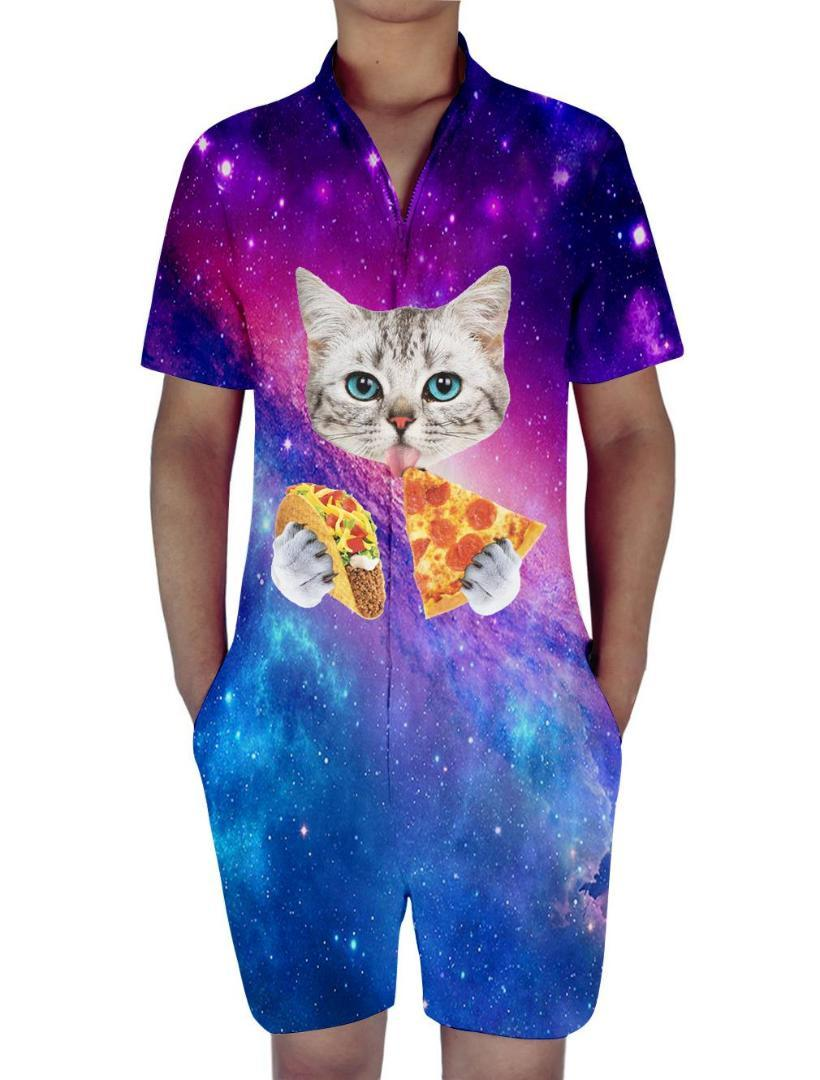 dac987e92ff 2019 Summer Rompers 3d Beach Holiday Men S Sets Jumpsuit Playsuit Harem  Cargo Overalls Cat Eating Tacos Pizza Shirts Galaxy Space From Maoku