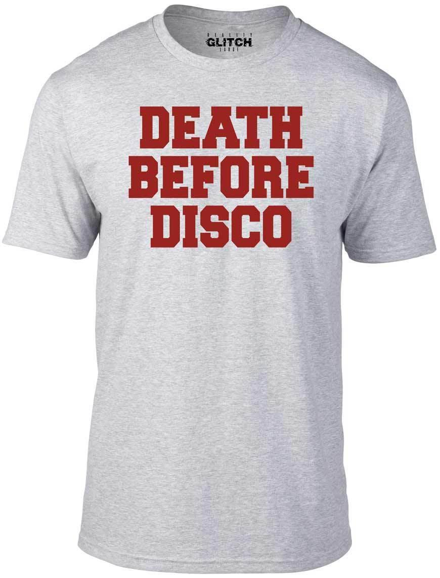 332ffed03b Death Before Disco T Shirt Funny T Shirt Retro Stripes Music Funk 80s Cheap  Wholesale Tees,100% Cotton For Man,T Shirt Printing Designer Tee Best T  Shirt ...