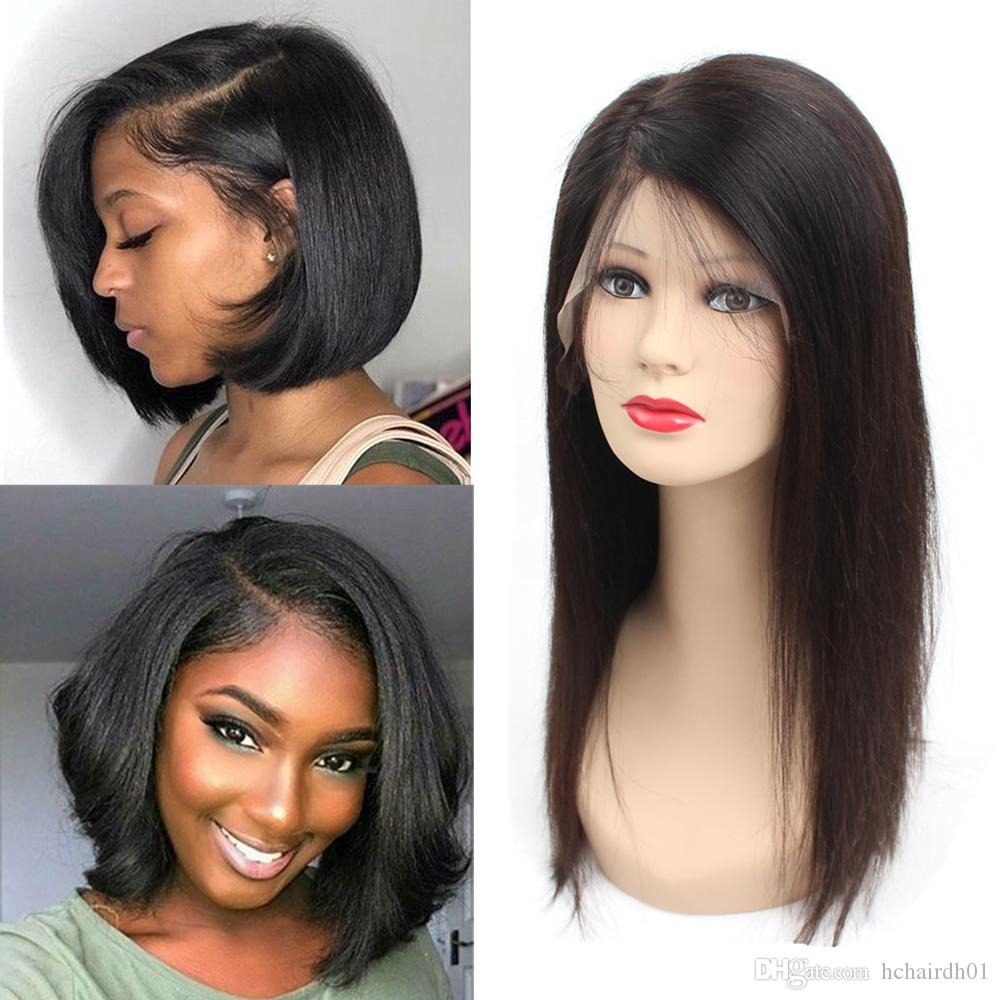 4d88a2ddc 13X6 Lace Front Wigs Human Hair Short Bob Wig Peruvian Virgin Hair Straight  100% Unprocessed Human Hair Lace Frontal Wig Natural Color Lace Wig With  Baby ...