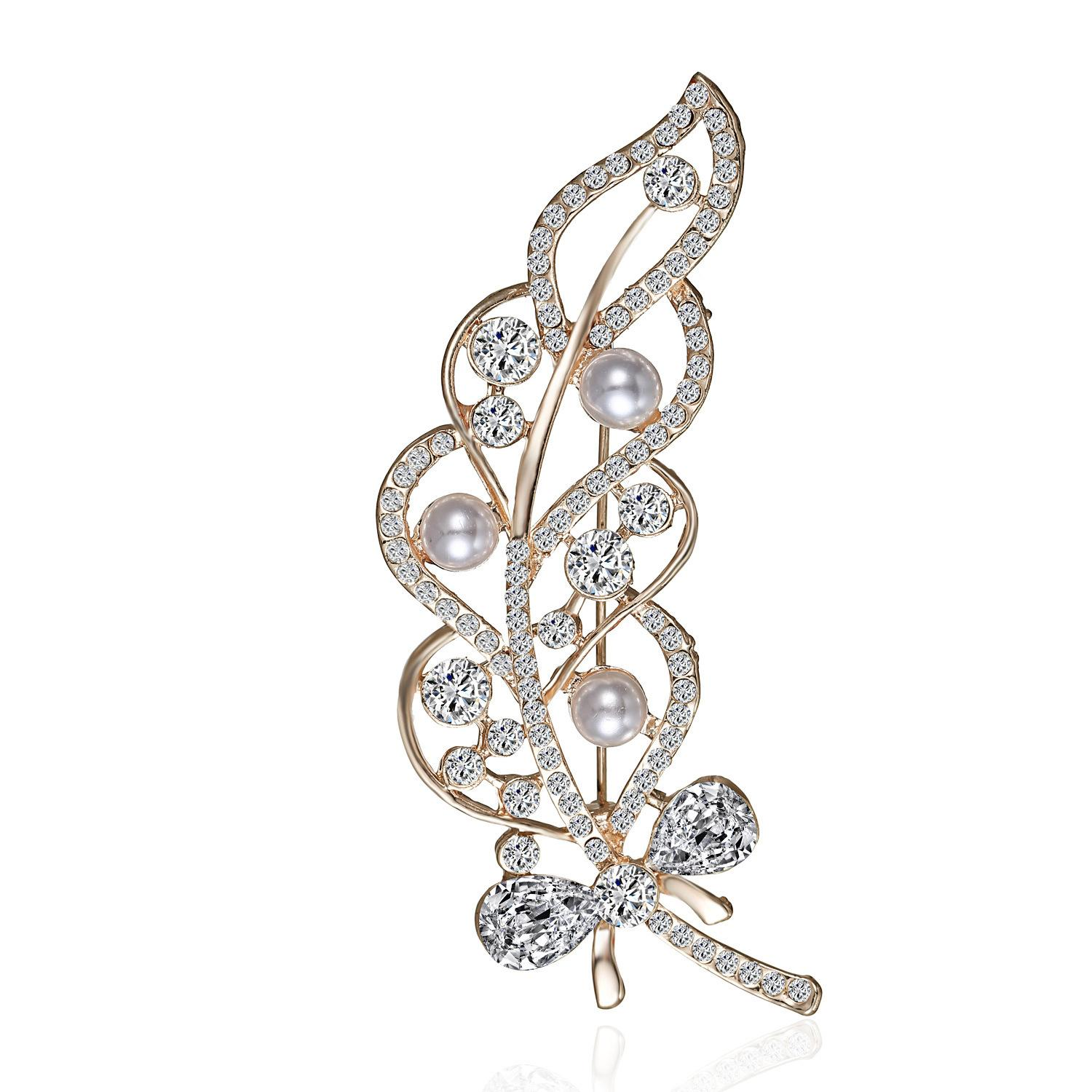 b956b0f7a 2019 Fashion Pearl Brooch Pin For Clothes 2018 Leaf Pins And Brooches For  Women Cute Rhinestone Brooches Accessories For Best Friend From Burtwang,  ...