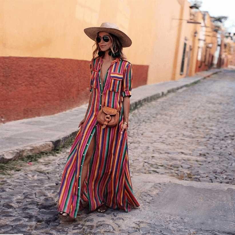 49968cf94552 2019 Short Sleeve Boho Striped Casual Long Dress Summer 2019 Vintage Women  Dress Elegant Streetwear Loose Sexy Black Shirt Dresses Y190123 From Tao01