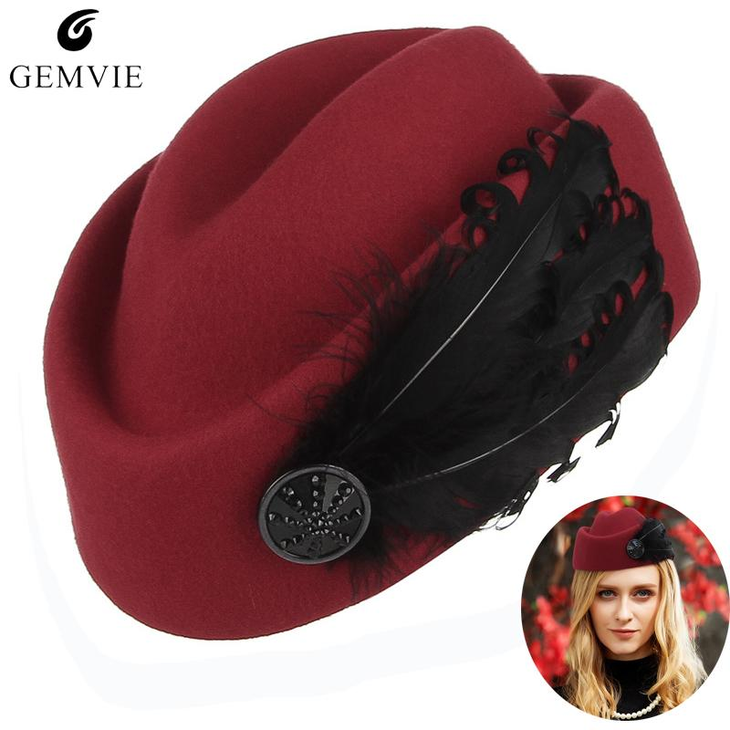 6924b0f7d0f Elegant Lady Berets Airline Stewardess Cap Women 100% Wool Solid Color  Adjustable Beret Caps With Feather Formal Occasion Hats Berets Cheap Berets  Elegant .